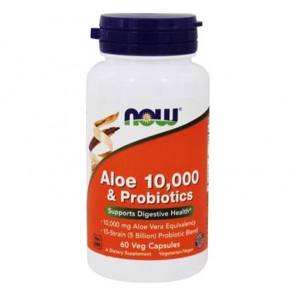 Aloe Vera 10.000 e Probioticos 60 caps Now Foods