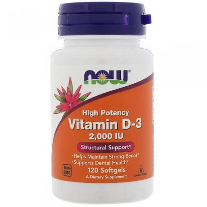 Vitamin D3 2000 IU 120 Softgels Tomar Now Foods