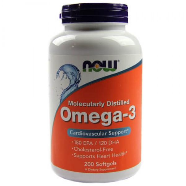 Now Omega 3 1000mg 200 Softgels Caps Melhor Coração