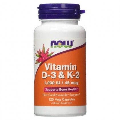 Vitamin D3 & K2 1000iu 45mcg 120 caps Now Foods