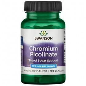 Chromium Picolinate 100 caps 200mcg Crómio Swanson