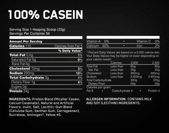 optimum 100 casein - facts - corposflex